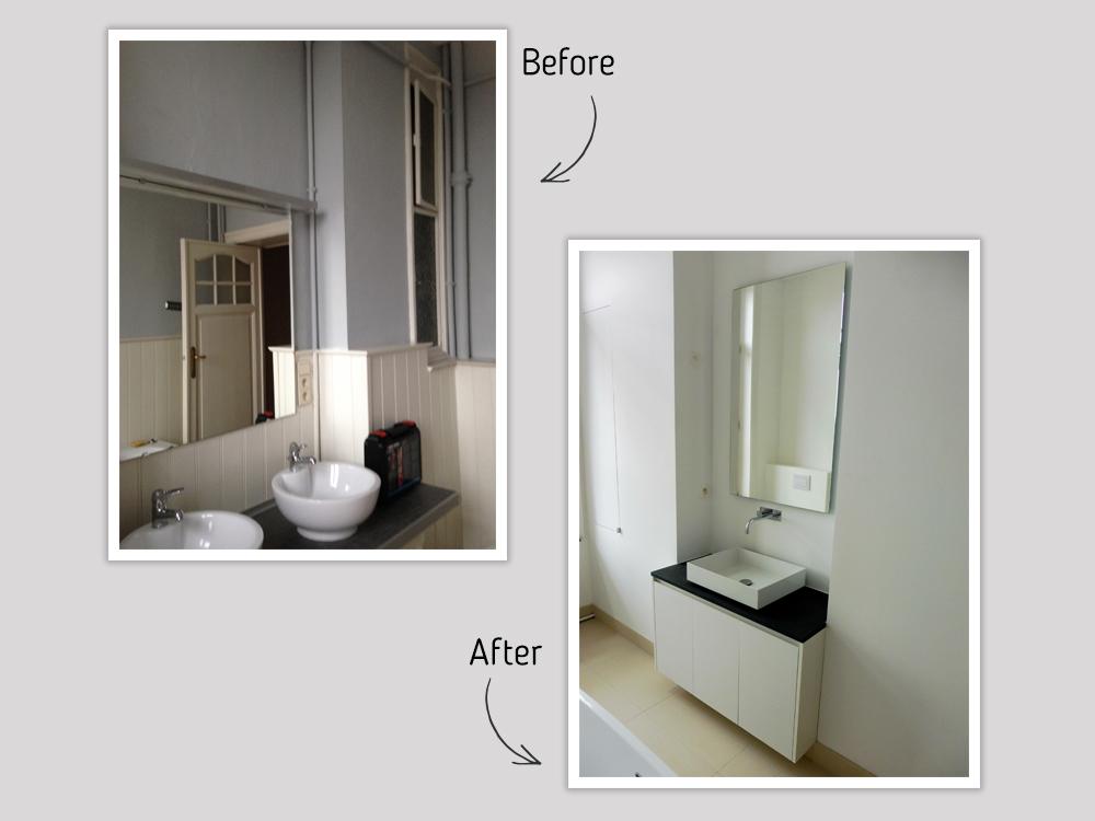 Rénovation de salle de bain avant-après